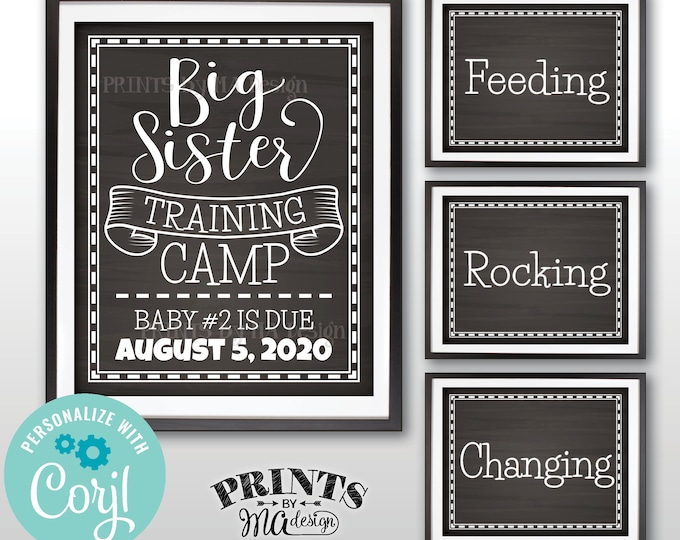 """Big Sister Training Camp Pregnancy Announcement Signs, Four PRINTABLE 8x10/16x20"""" Chalkboard Style Signs <Edit Yourself with Corjl>"""