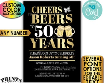 """Cheers and Beers Invitation, Cheers to Years, Custom PRINTABLE 5x7"""" Party Invite, Birthday or Retirement <Edit Yourself with Corjl>"""