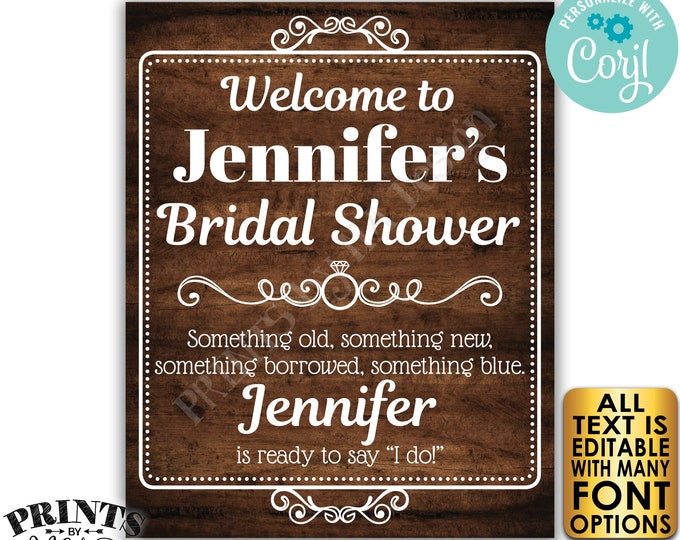 "Bridal Shower Welcome Sign, Editable Bridal Shower Decor, Custom PRINTABLE 8x10/16x20"" Rustic Wood Style Sign <Edit Yourself w/Corjl>"