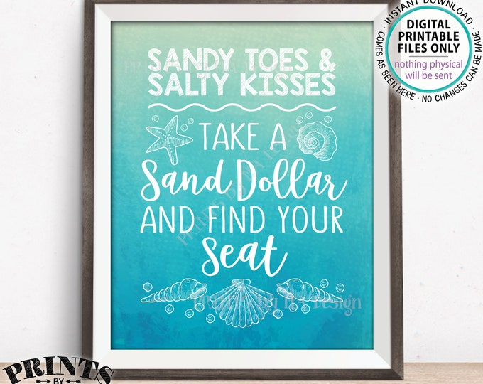 """Beach Wedding Seating Sign, Take a Sand Dollar Find Your Seat, Beach Theme Wedding, Seashells, PRINTABLE 8x10"""" Watercolor Style Sign <ID>"""