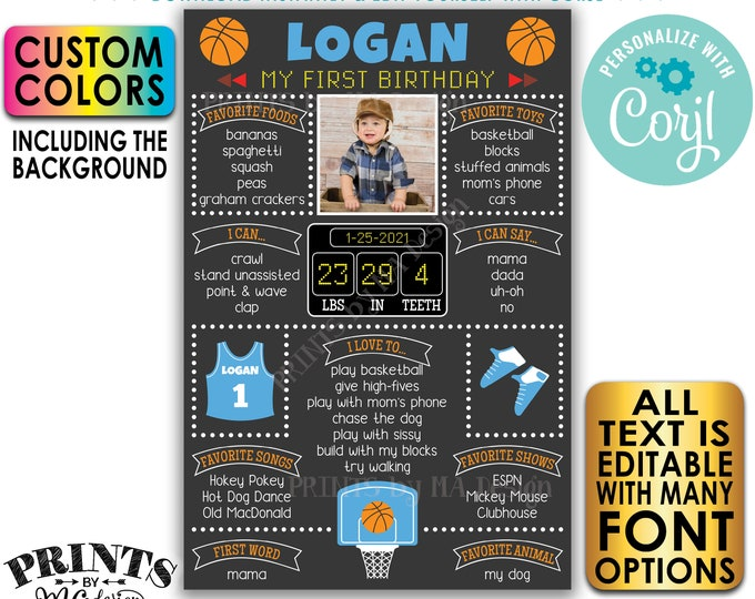 "Editable Basketball Birthday Board, Personalized Milestones Poster, Custom PRINTABLE 24x36"" 1st B-day Stats Sign <Edit Yourself w/Corjl>"