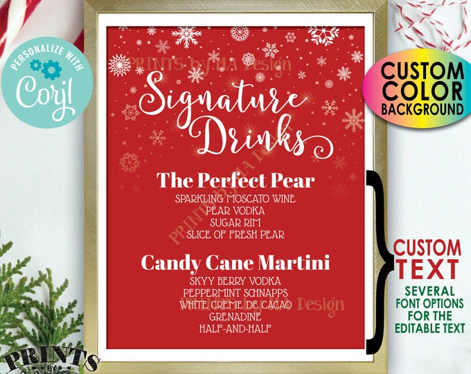"""Signature Drinks Sign, Holiday Christmas Party Cocktails, Snowflakes, Custom PRINTABLE 8x10"""" Bar Sign <Edit Yourself w/Corjl>"""
