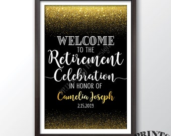 """Retirement Party Sign, Welcome to the Retirement Celebration Welcome Sign, Black & Gold Glitter PRINTABLE 20x30"""" Retirement Party Sign"""