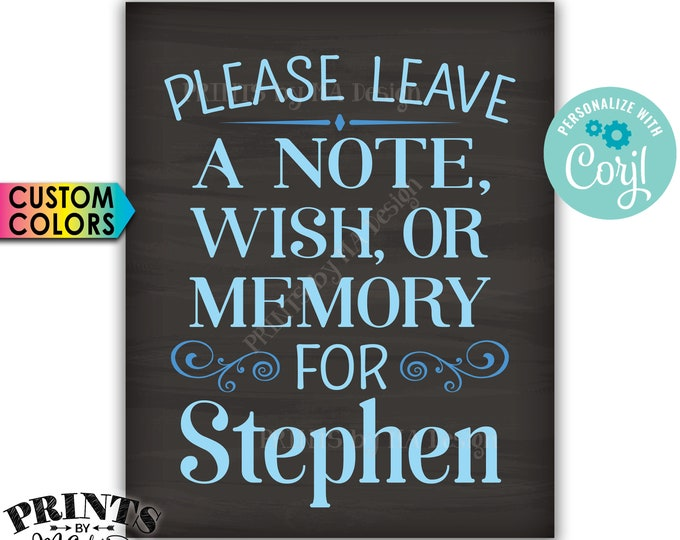 "Please Leave a Note Wish or Memory Sign, Write a Message Sign, PRINTABLE Chalkboard Style 16x20"" Sign <Edit Yourself with Corjl>"