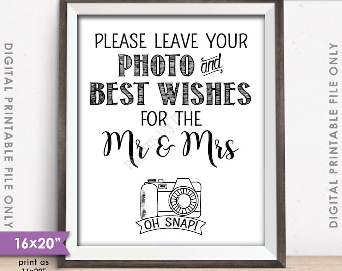 """Guestbook Photo Sign, Leave Photo and Best Wishes for the Mr & Mrs, Wedding Wishes, 8x10""""/16x20"""" Instant Download Digital Printable File"""