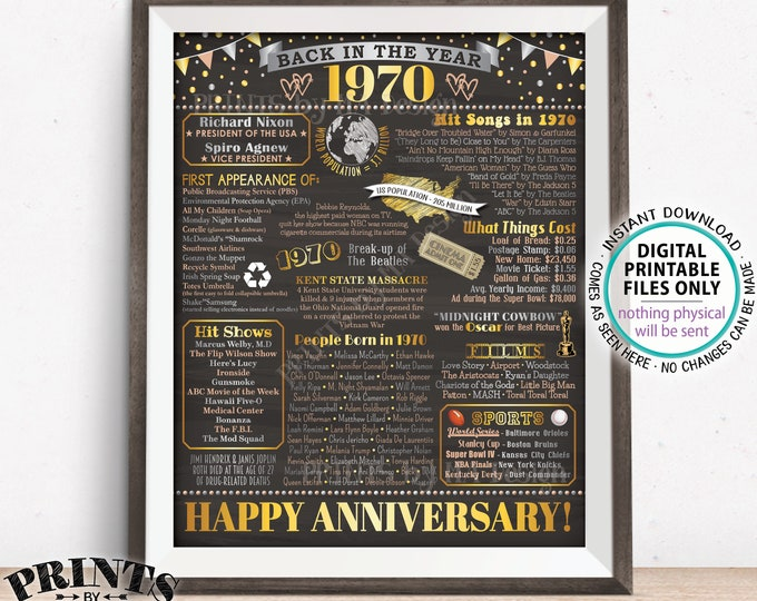 "Back in 1970 Anniversary Sign, Flashback to 1970 Anniversary Decor, Anniversary Gift, PRINTABLE 16x20"" Poster Board <ID>"