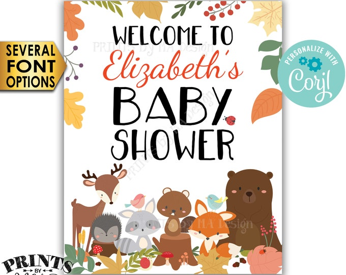 """Woodland Baby Shower Welcome Sign, Forest Animals Welcome Poster, Custom PRINTABLE 8x10/16x20"""" Baby Shower Decor <Edit Yourself with Corjl>"""