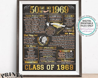"Class of 1969 50th Reunion Decoration, Flashback to 1969, Back in 1969 Graduating Class, PRINTABLE 8x10/16x20"" Chalkboard Style Poster <ID>"