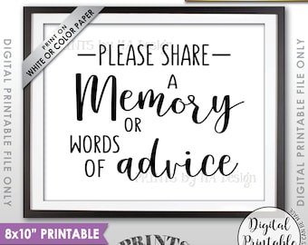 "Share a Memory or Words of Advice Sign, Advice Sign, Share Memories, Write a Memory, Graduation Party, 8x10"" Printable Instant Download"