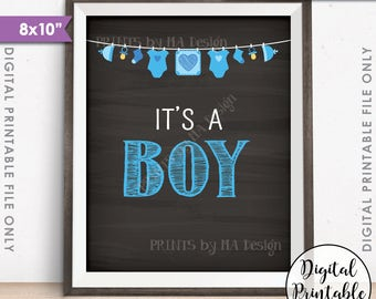 "It's a BOY Sign, It's a Boy Gender Reveal Sign, It's a Boy Announcement, Blue Baby Boy 8x10"" Chalkboard Style Printable Instant Download"