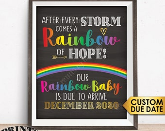 "Rainbow Baby Pregnancy Announcement, Pregnancy Reveal After Loss, Hope after Storm, Chalkboard Style PRINTABLE 8x10/16x20"" Sign"