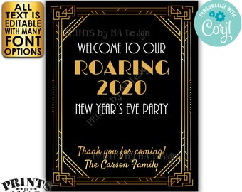 "New Year's Party Welcome Sign, Roaring Twenties Great Gatsby Party, Custom PRINTABLE 8x10/16x20"" Art Deco Sign <Edit Yourself with Corjl>"