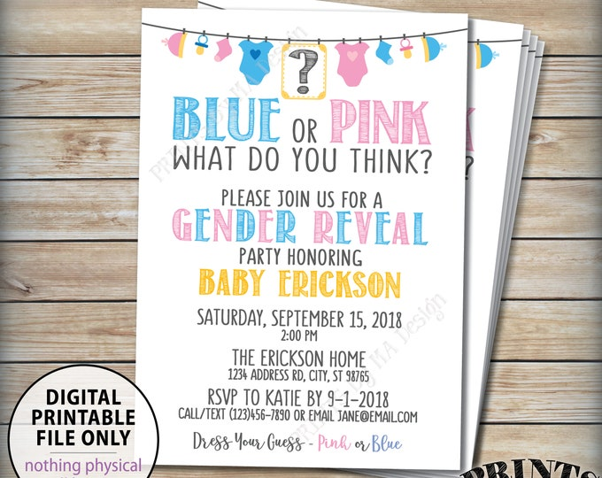 "Gender Reveal Party Invitation, Blue or Pink What Do You Think? Pink or Blue, Baby Clotheline, Gender Reveal Invite, PRINTABLE 5x7"" Invite"