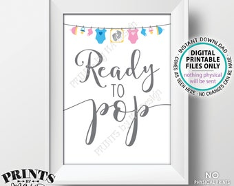 "Ready to Pop Sign, Gender Neutral Baby Shower Sign, Popcorn, Cake Pop, Baby Clothesline Baby Shower Decor, PRINTABLE 5x7"" Sign <ID>"