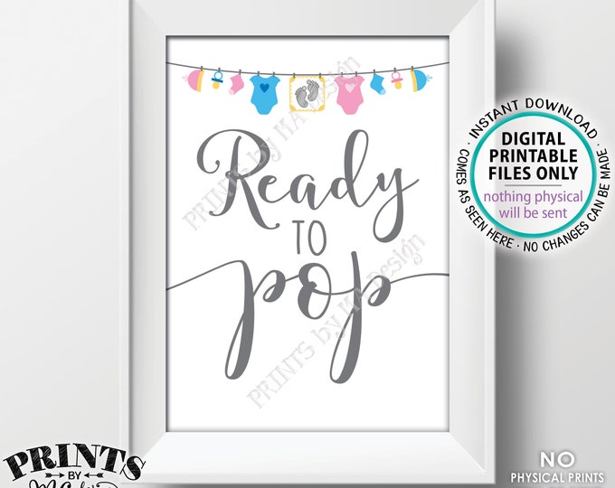 """Ready to Pop Sign, Gender Neutral Baby Shower Sign, Popcorn, Cake Pop, Baby Clothesline Baby Shower Decor, PRINTABLE 5x7"""" Sign <ID>"""