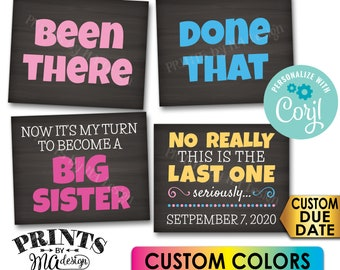 Pregnancy Announcement, Been There, Done That, My Turn to Become a Big Sister, 4 PRINTABLE Baby #4 Reveal Signs <Edit Yourself with Corjl>