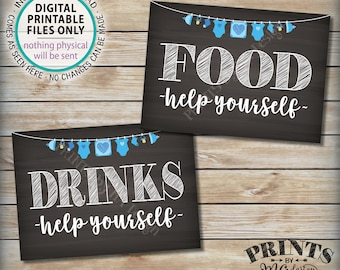"Food and Drinks Signs, Help Yourself, Buffet, Baby Shower Decorations, Blue Clothesline Boy, Two PRINTABLE 5x7"" Chalkboard Style Signs <ID>"
