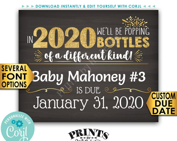 """New Years Pregnancy Announcement Sign, Popping Bottles of a Different Kind in 2020, 16s20"""" PRINTABLE Baby Reveal <Edit Yourself with Corjl>"""