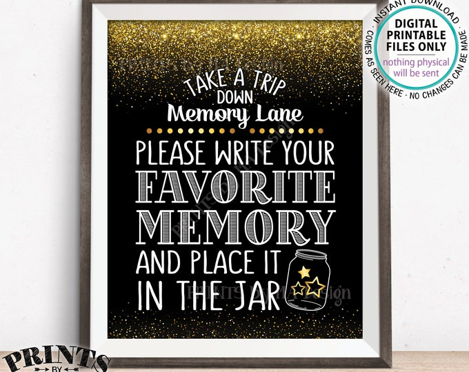 """Share a Memory Sign, Take a Trip Down Memory Lane and Share a Favorite Memory, Birthday, Retirement, Graduation, PRINTABLE 8x10"""" Sign <ID>"""