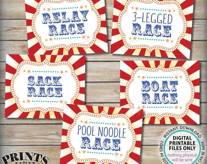 """Carnival Race Signs, Circus Party Activities, Relay 3-Legged Sack Boat Pool Noodle, PRINTABLE 8x10/16x20"""" Carnival Racing Signs <ID>"""
