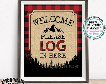 """Lumberjack Sign In Sign, Please LOG In Here Sign, Please Sign Guestbook Sign, Red & Black Checker Buffalo Plaid, PRINTABLE 8x10"""" Sign <ID>"""