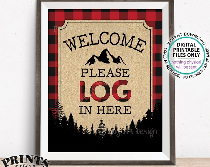 "Lumberjack Sign In Sign, Please LOG In Here Sign, Please Sign Guestbook Sign, Red & Black Checker Buffalo Plaid, PRINTABLE 8x10"" Sign <ID>"