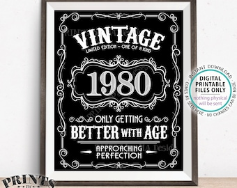 "1980 Birthday Sign, Better with Age Vintage Birthday Poster, Whiskey/Liquor Theme, Black & White PRINTABLE 8x10/16x20"" 1980 Sign <ID>"