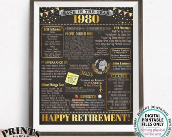 "Retirement Party Decorations, Back in the Year 1980 Poster, Flashback to 1980 Retirement Party Decor, PRINTABLE 16x20"" Sign <ID>"
