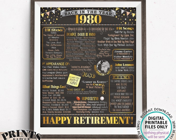 """Retirement Party Decorations, Back in the Year 1980 Poster, Flashback to 1980 Retirement Party Decor, PRINTABLE 16x20"""" Sign <ID>"""