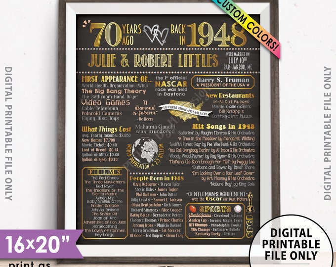 """70th Anniversary Gift, Flashback in 1948, Married in 1948 Anniversary, Custom Chalkboard Style PRINTABLE 8x10/16x20"""" 1948 Anniversary Poster"""