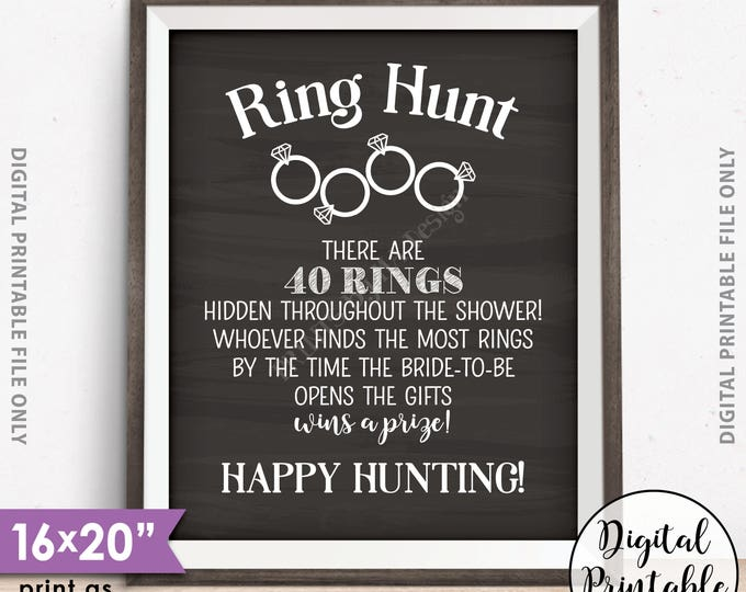 """Ring Hunt Game, Ring Hunt Sign, Bridal Shower Game Ring Scavenger Hunt, Game for Wedding Shower, Chalkboard Style PRINTABLE 8x10/16x20"""" Sign"""