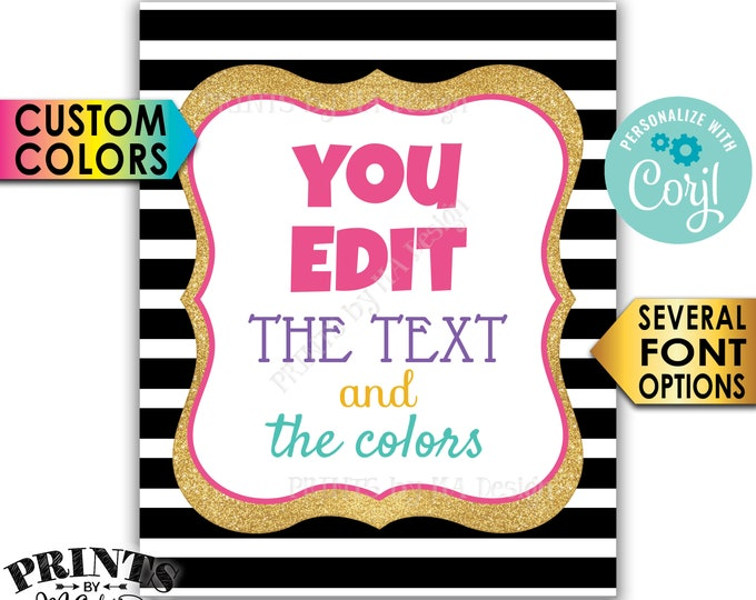 "Custom Sign, Design a Poster, Choose Your Text/Colors, Black & Gold Glitter PRINTABLE 8x10/16x20"" Portrait Sign <Edit Yourself with Corjl>"