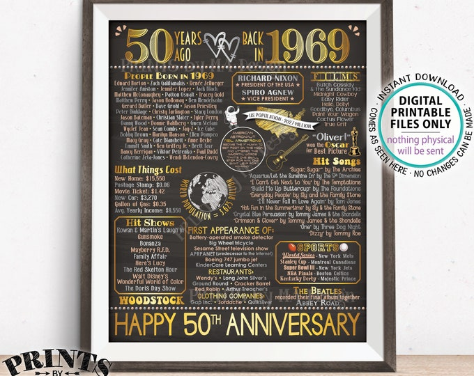"""50th Anniversary Married in 1969 Flashback to 1969 Poster, USA Back in 1969 Sign, Gold, PRINTABLE 16x20"""" 1969 Sign <ID>"""