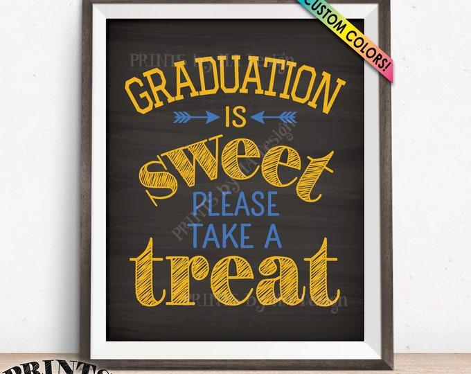 "Graduation Party Decoration, Graduation is Sweet Please Take a Treat, Candy Bar Grad Favor, PRINTABLE Chalkboard Style 8x10"" Graduation Sign"