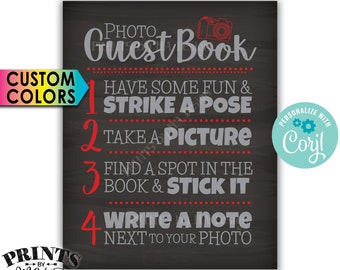 "Photo Guestbook Sign, Scrapbook, Picture Memory Book, PRINTABLE 8x10""/16x20"" Chalkboard Style Sign <Edit the Colors Yourself with Corjl>"