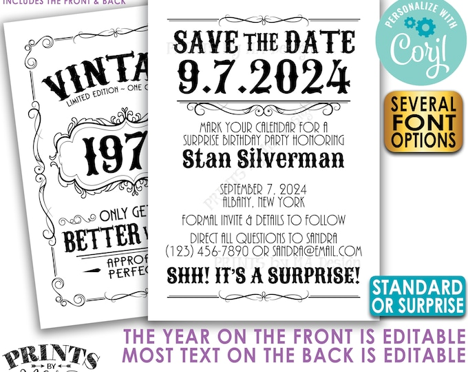 """Vintage Birthday Party Save the Date, Better with Age Bday Invite, Whiskey Liquor, Two PRINTABLE 5x7"""" Files <Edit Yourself with Corjl>"""