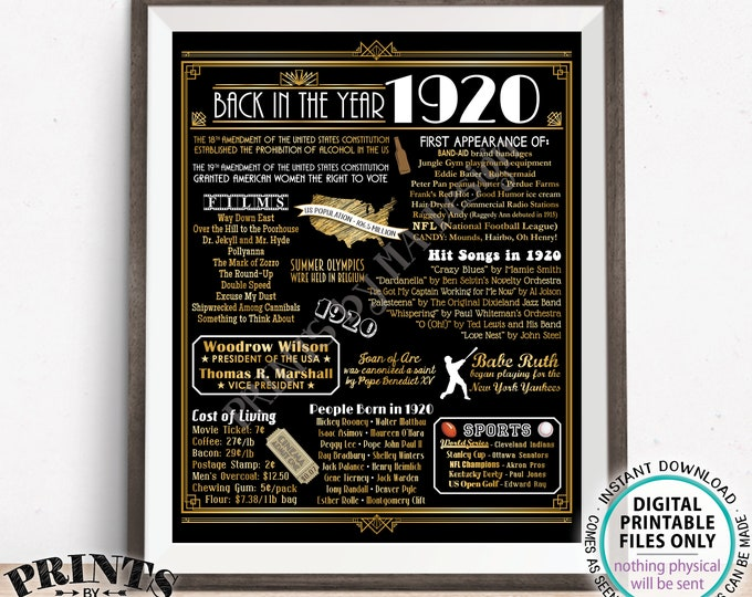 "Back in the Year 1920 Poster Board, Remember 1920 Sign, Flashback to 1920 USA History from 1920, PRINTABLE 16x20"" Art Deco Sign <ID>"