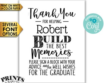 """Sign a Block Graduation Party Decoration, Thanks for Helping Build the Best Memories, PRINTABLE 8x10"""" Sign <Edit Yourself with Corjl>"""