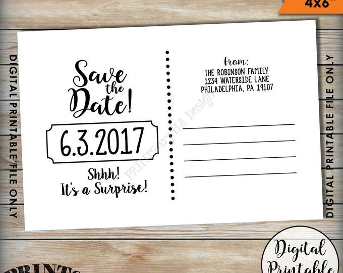 "Postcard Back Side, Save the Date Postcard for a Surprise Birthday Party Surprise Birthday, Save the Date, 4x6"" Digital Printable File"