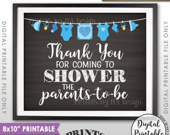 "Thank You Sign, Showering the Parents-to-Be Baby Shower Decor, Shower the Parents Sign, 8x10"" Instant Download Chalkboard Style Printable"
