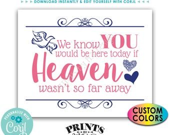 """We Know You Would Be Here Today if Heaven Wasn't So Far Away, Tribute, PRINTABLE 8x10/16x20"""" Heaven Sign <Edit Colors Yourself with Corjl>"""