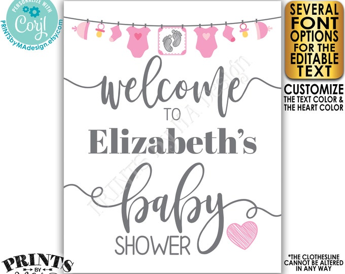 "Editable Baby Shower Welcome Sign, It's a Girl, Pink Baby Clothesline Decoration, PRINTABLE 8x10/16x20"" Sign <Edit Yourself w/Corjl>"