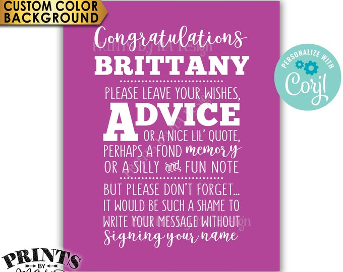 """Congratulations Sign, Please leave Advice or Message, Graduation Party Decor, PRINTABLE 8x10"""" Sign <Edit Yourself with Corjl>"""
