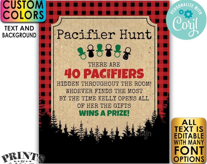"Lumberjack Baby Shower Pacifier Hunt Game Sign, Pacifier Scavenger Hunt, Custom PRINTABLE 8x10/16x20"" Sign <Edit Yourself w/Corjl>"
