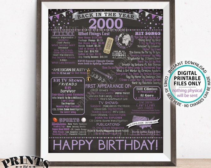 """Back in 2000 Birthday Sign, Flashback to 2000 Poster Board, '00 B-day Gift, Purple Bday Decoration, PRINTABLE 16x20"""" Sign <ID>"""
