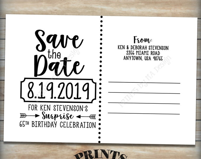 "Save the Date Postcard for a Surprise Birthday Party, Postcard Back Side, Surprise B-day STD, Custom PRINTABLE 4x6"" Save the Date Card"