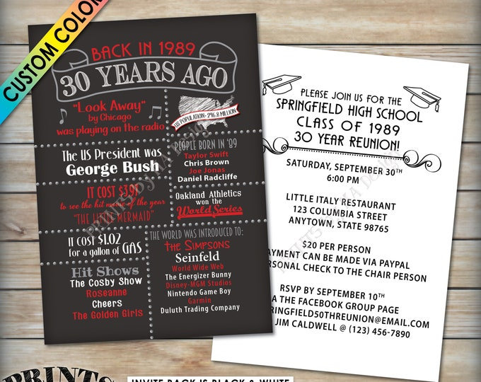 "30th Reunion Invitation, Class of 1989 Invite, Graduated in 1989 Flashback 30 Years Ago, 30th Invite, Custom PRINTABLE 5x7"" Reunion Invite"