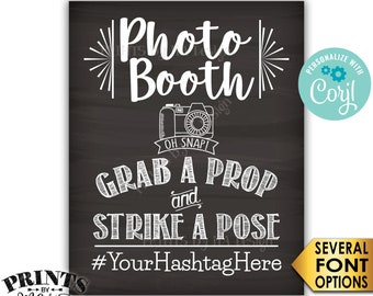 """Photobooth Sign, Share on Social Media, PRINTABLE 8x10/16x20"""" Chalkboard Style Hashtag Sign <Edit Yourself with Corjl>"""