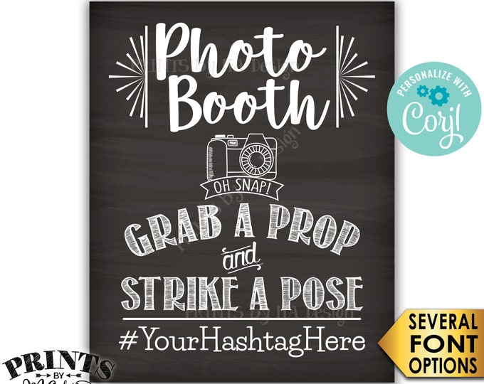 "Photobooth Sign, Share on Social Media, PRINTABLE 8x10/16x20"" Chalkboard Style Hashtag Sign <Edit Yourself with Corjl>"