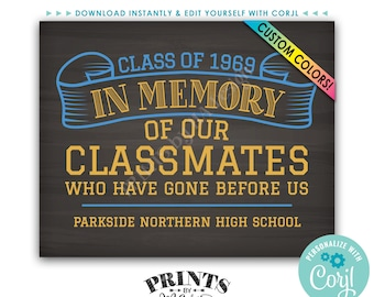 "Reunion Memorial, In Memory of the Classmates Who Have Gone Before Us, PRINTABLE 8x10"" Chalkboard Style Sign <Edit Yourself with Corjl>"